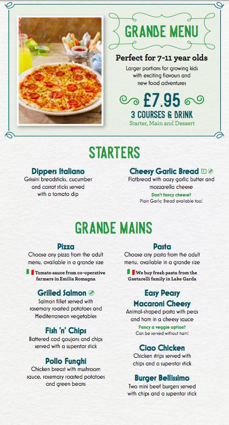 bella italia newcastle childrens menu