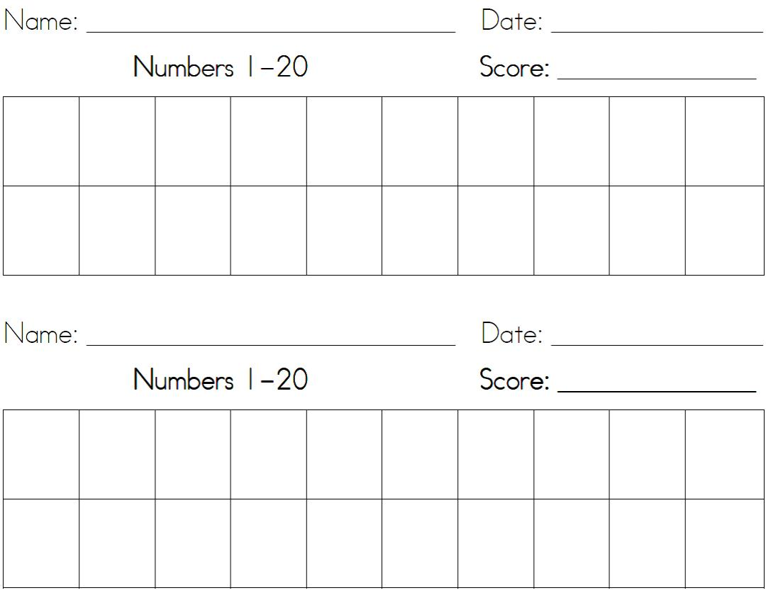 Writing numbers worksheet 1 20