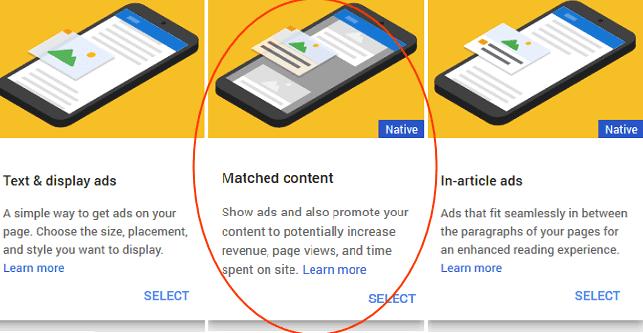 Cara Membuat Unit Iklan Matched Content Adsense
