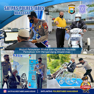 Wujudkan Pelayanan prima yang presisi , Satpas Polrestabes Makassar Dilengkapi dengan Fasilitas yang Ramah disabilitas