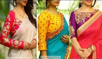 Contrast Combination Blouse & Sarees Mix and Match Designer Collections
