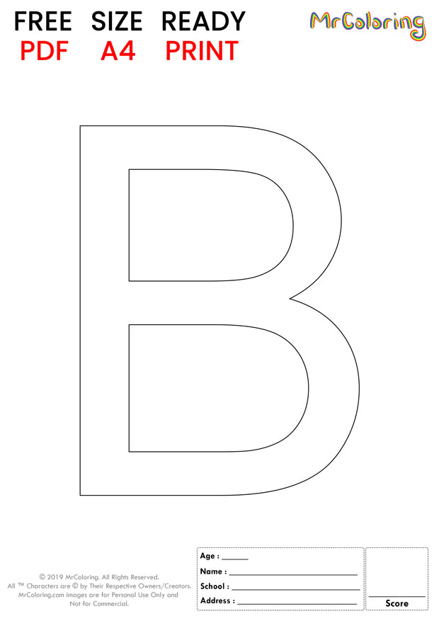 Alphabet letter B coloring pages Uppercase or Capital Flat for kids