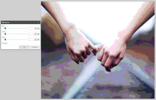 Hands stock photo with posterize effect, which convert subtle gradients of shade and hue into blocks of uniform colors