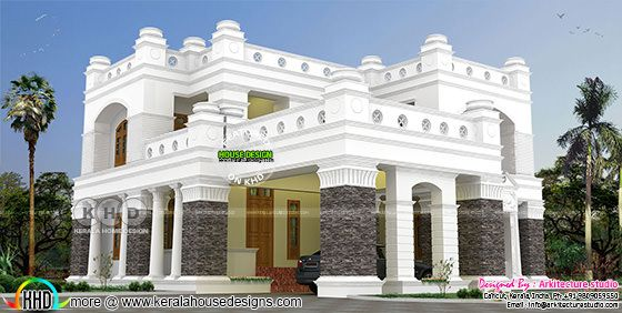 5 bedroom Colonial model Decorative house rendering