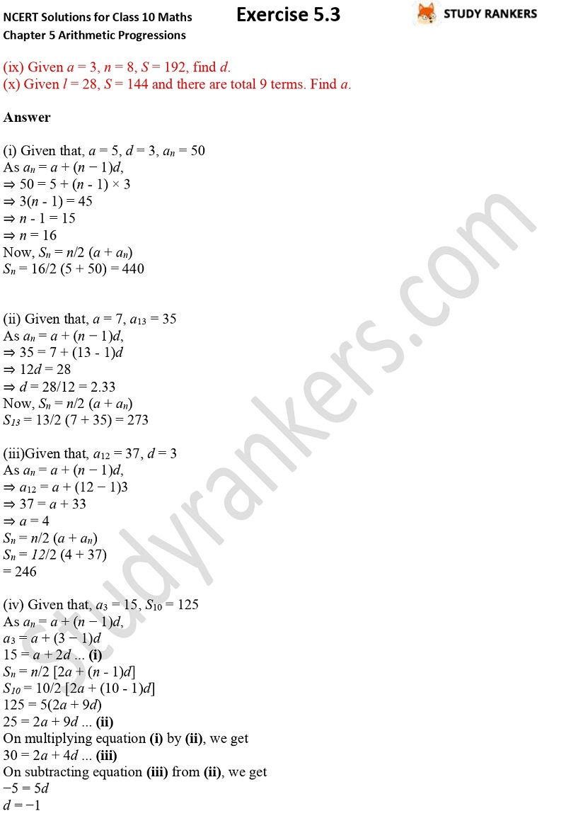 NCERT Solutions for Class 10 Maths Chapter 5 Arithmetic Progressions Exercise 5.3 Part 1 Part 4