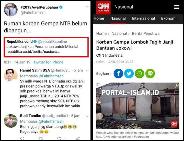 Jokowi Janjikan Perumahan untuk Milenial, Fahri: Rumah Korban Gempa NTB Belum Dibangun