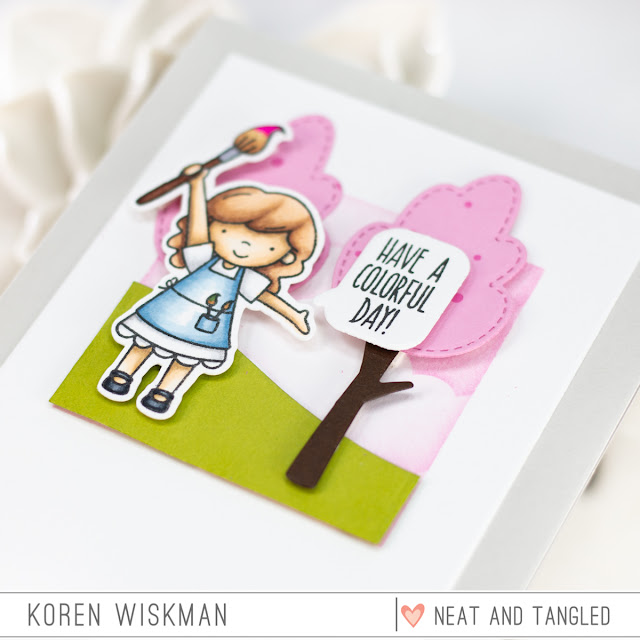 Koren Wiskman, Neat and Tangled, pink trees, green grass, little girl painting, greeting card, have a colorful day, paint night, stamping, coloring, die cutting, scene