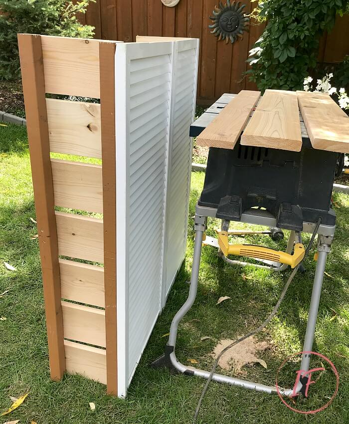 Assembled Repurposed Bi-Fold Door Outside Vent Cover