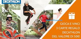 Logo Vinci nello sport carte regalo Decathlon da 50 euro