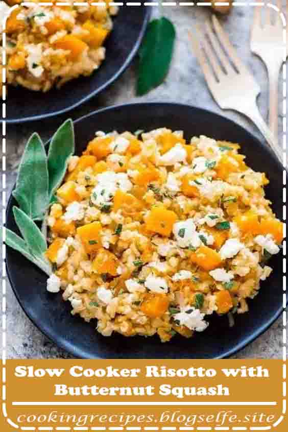 4.8 ★★★★★ | Slow Cooker Risotto with Butternut Squash is a simple looking crock pot side dish that's packed with flavor. Made with brown rice, butternut squash, and goat cheese, this is clearly one of the best crock pot recipes for busy people, because there's NO STIRRING required. You'll never make stove top risotto again! #vegetarian #recipes #easy #dinner #crockpots