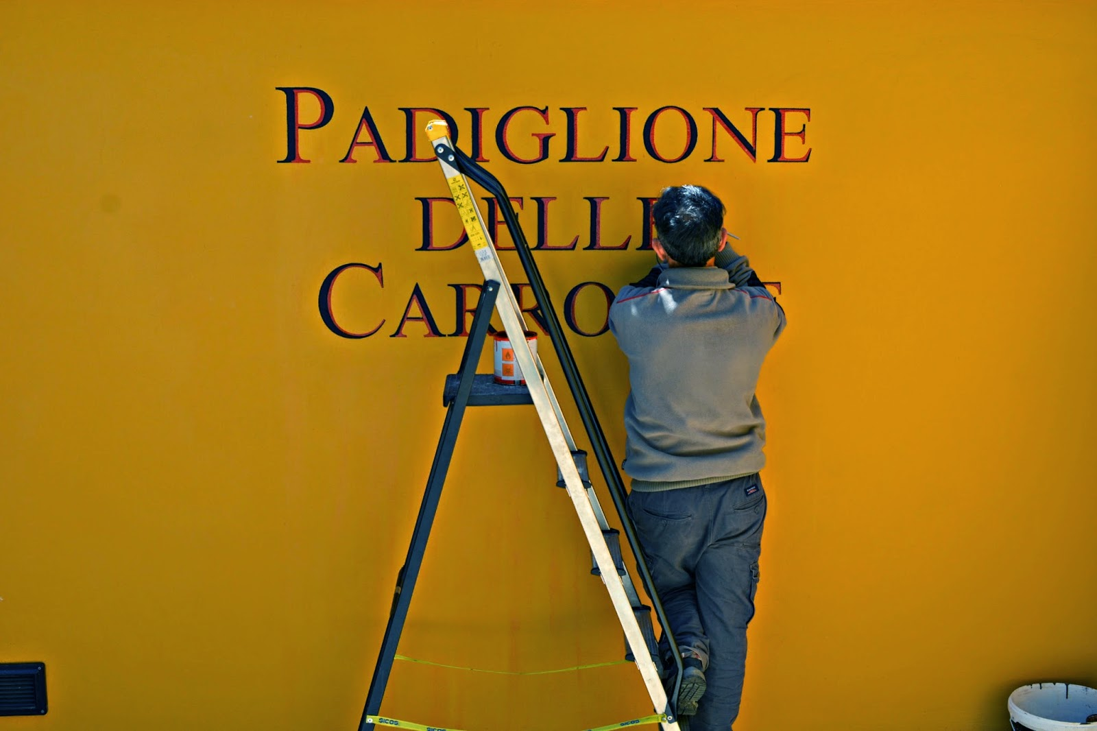 Maintenance man painting at Vatican Museum