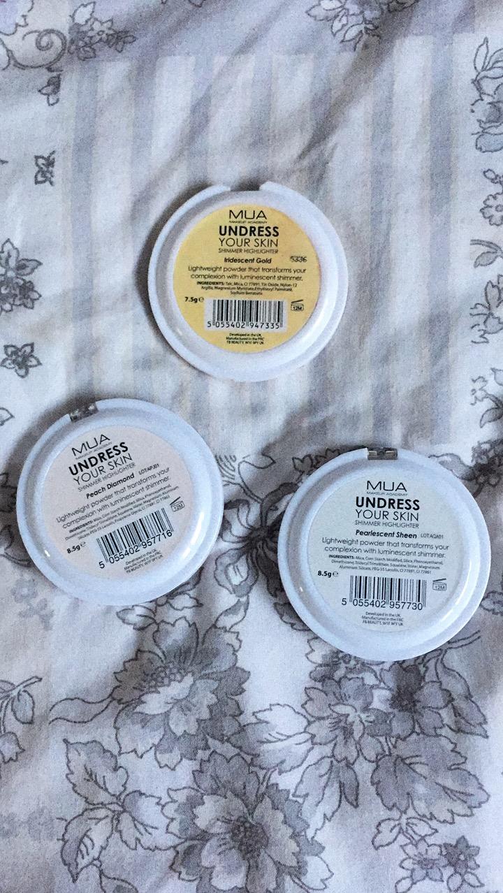 MUA Undress Your Skin Shimmer Highlighter | Iridescent Gold, Pearlescent Sheen & Peach Diamond