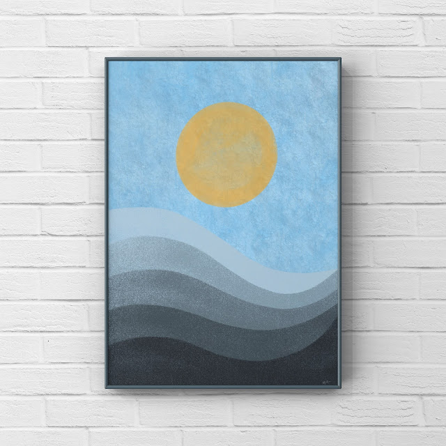 sun, blue mountains, abstract art,