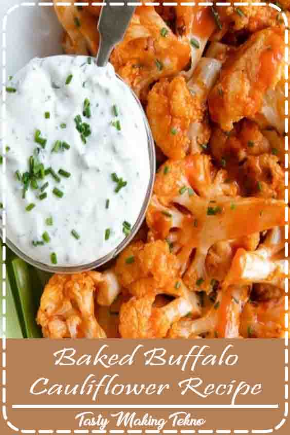 Oven Baked Buffalo Cauliflower Bites are a fun and easy appetizer or snack made with just a few simple ingredients.