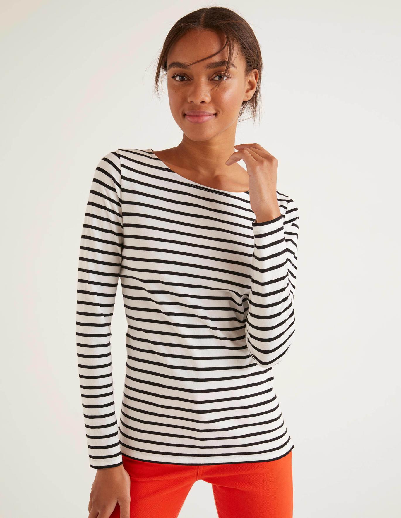 boden white/black long sleeve cotton breton top