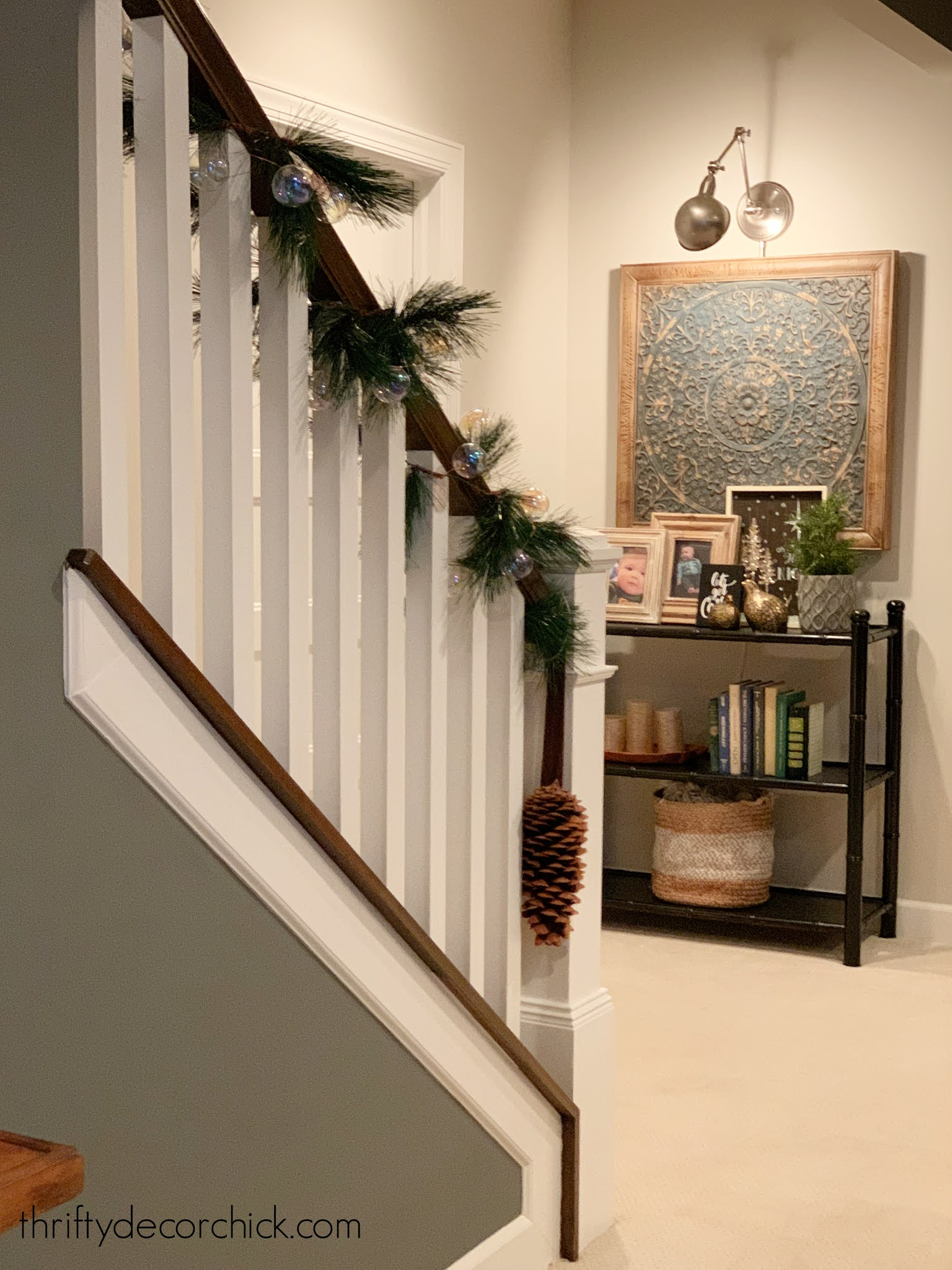 white spindles stained railing stairs