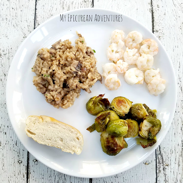 Roasted Brussels Sprouts & how to roast 'em. It's really simple and goes great with just about anything. Served here with sauteed shrimp, mushroom risotto and plain ol' white Italian bread.