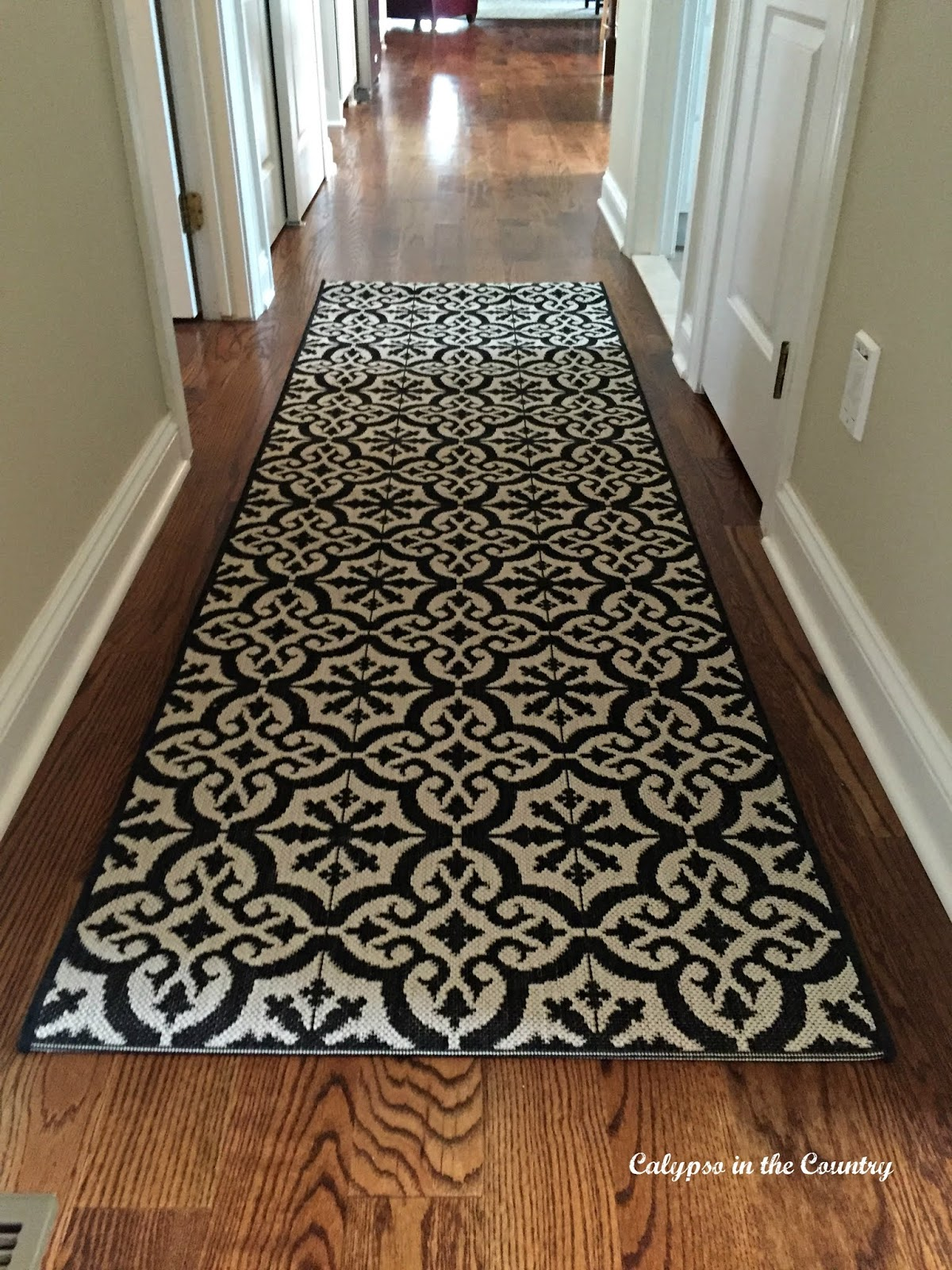 Indoor-Outdoor Black and white runner rug from Ballard Design
