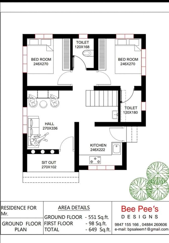 649 Sqft Low Budget 2 Bedroom Home Design And Free Plan From Bee Pee S Kerala Home Planners