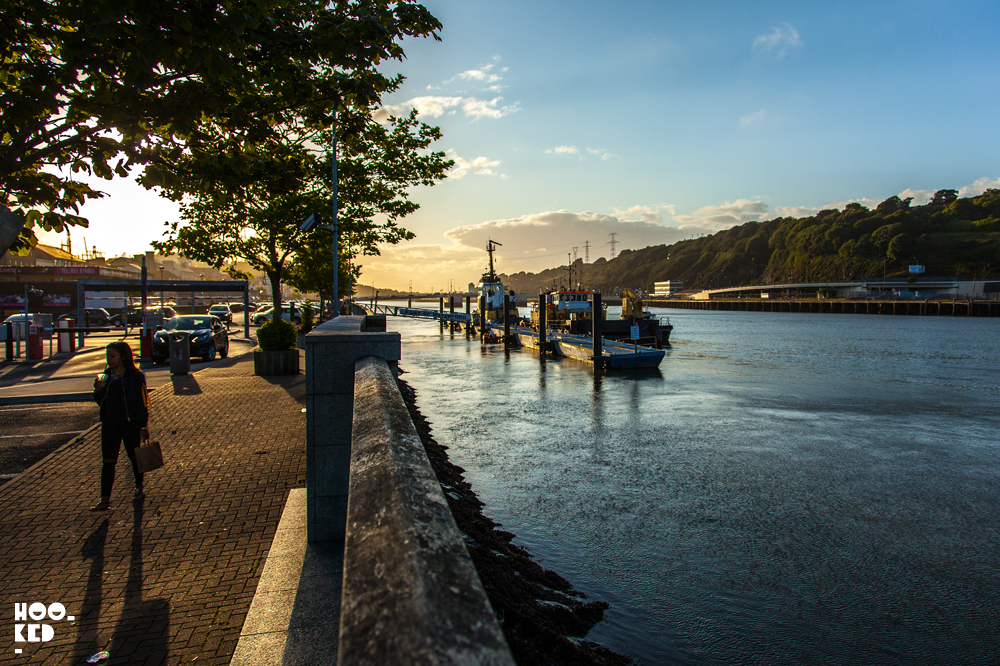 Waterford street art festival, summer sunset over the river