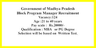 Block Program Manager Recruitment - Government of Madhya Pradesh