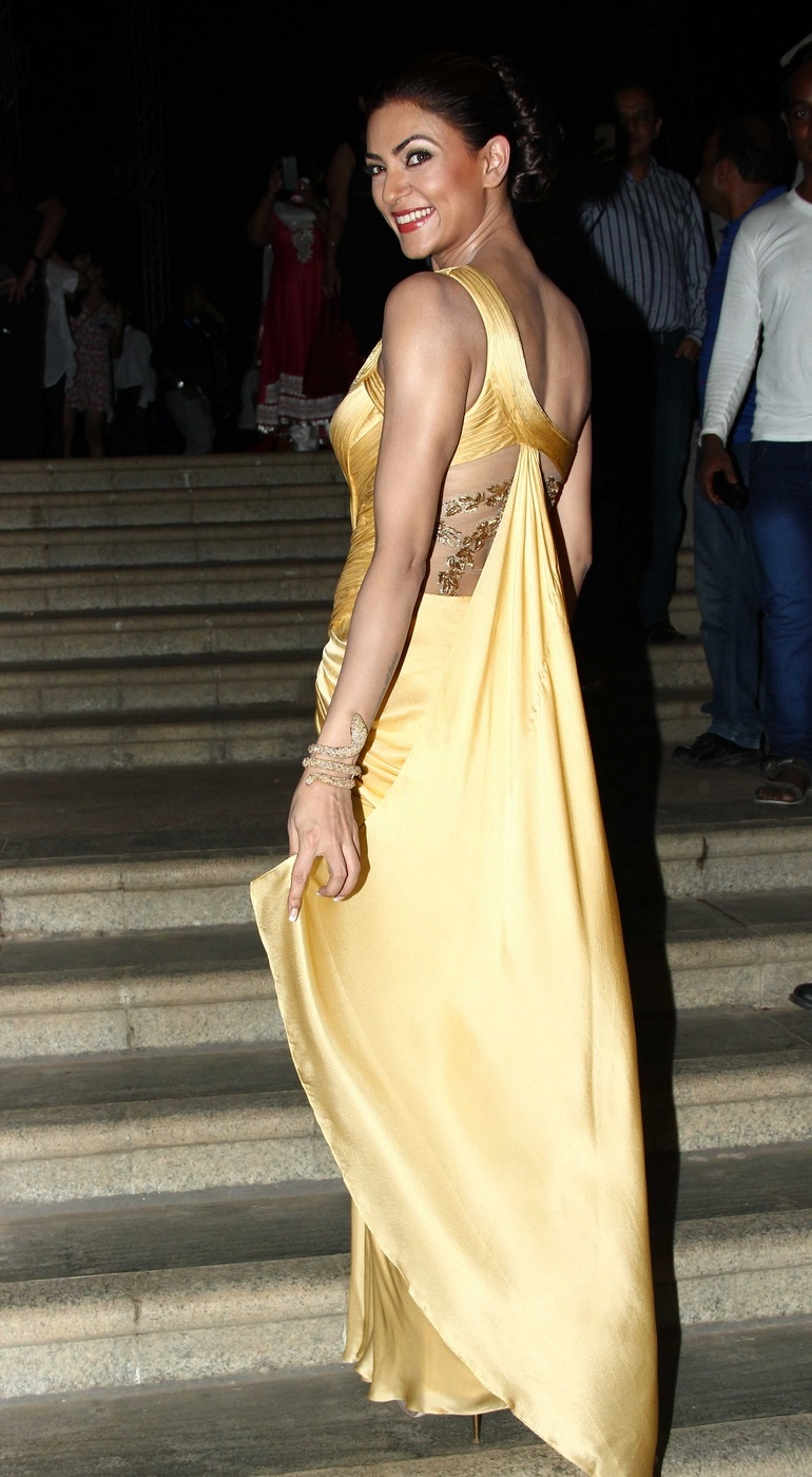 Bollywood Actress Sushmita Sen Hot Long Hair Sizzling Stills In Yellow Gown