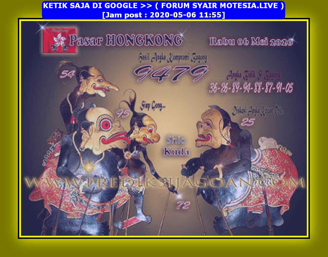 Kode syair Hongkong Rabu 6 Mei 2020 169