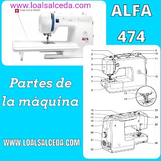 Partes de la maquina de coser ALFA 474