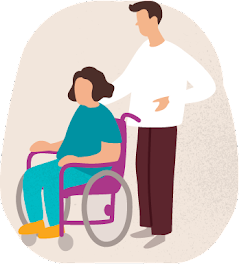Illustration of a caucasian man and woman. The woman's short brown hair and is wearing teal coloured clothes she is sat in a purple wheelchair behind her is a man with a white t-shirt and brown hair.