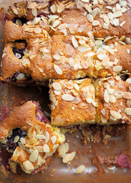 Almond and Plum Tray Bake