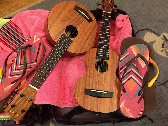 ukuleles in suitcase