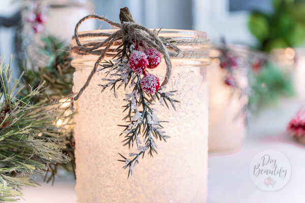 DIY frosted Christmas luminaries with frosted berries