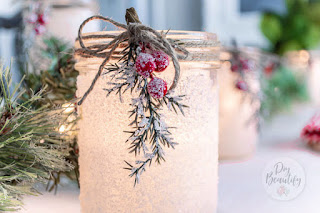 frosted mason jars for Christmas