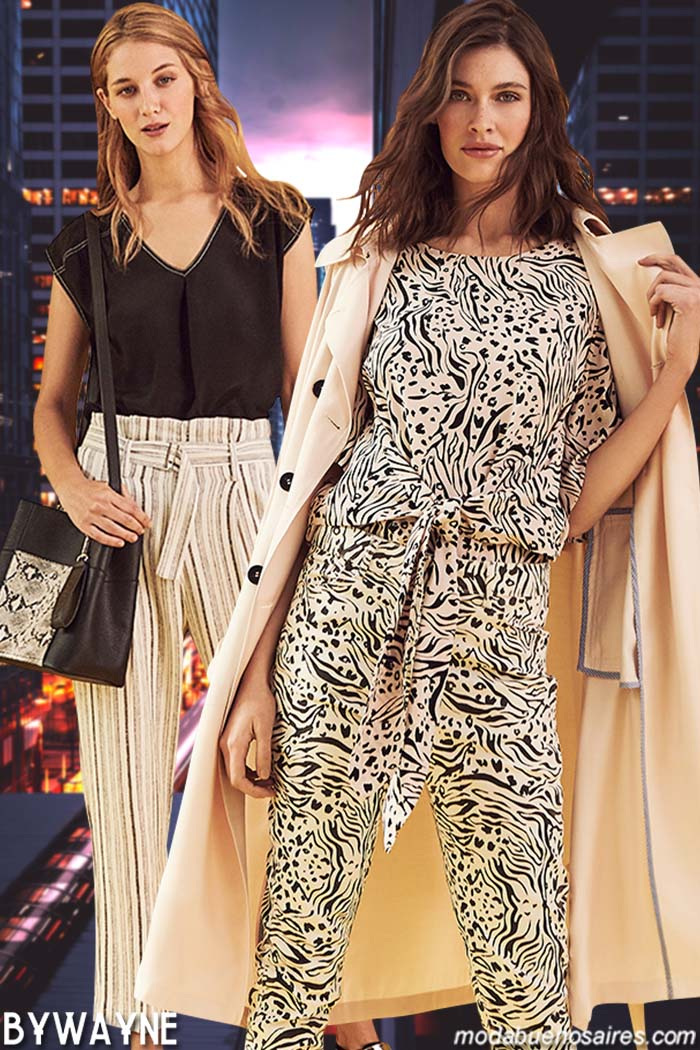 Blusas, pantalones con lazos en cintura, monos primavera verano 2020. Moda mujer primavera verano 2020.