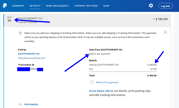 Adnow payment proof on paypal