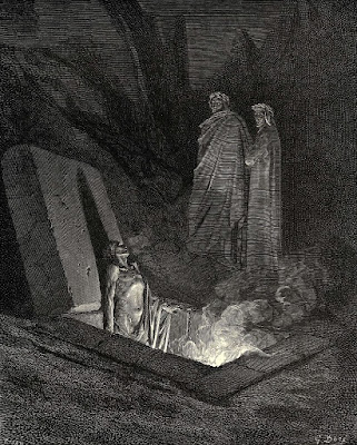 Gustave Doré, Dante and Virgil observe a wight