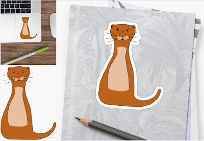 Meet Ollie - He is Oliver the Otter Sketch and Digital Art by Colleen Cornelius Sticker