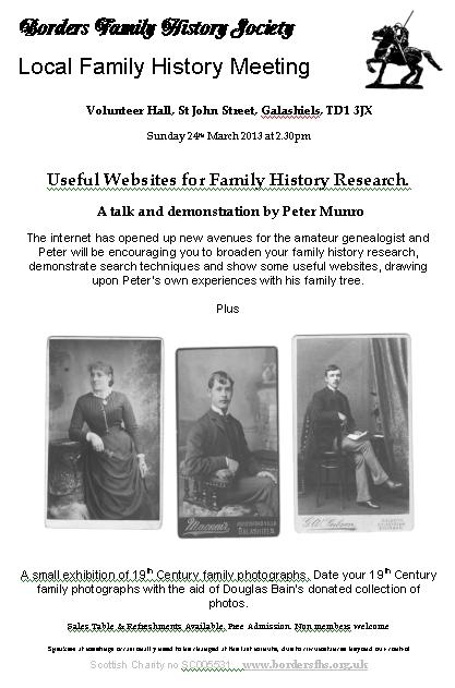 Borders Family History Society: Useful Free Websites for