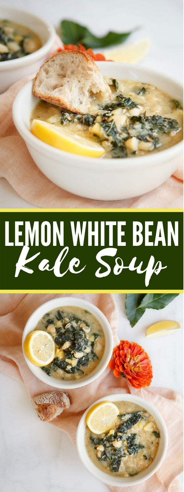 LEMON WHITE BEAN KALE SOUP #vegetarian #appetizers