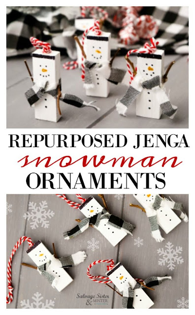Snowman Christmas ornaments made from Jenga blocks.