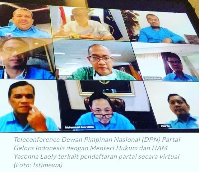 Partai Gelora Indonesia resmi mendaftarkan diri ke Kementerian Hukum dan HAM melalui telekonferensi
