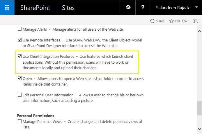 sharepoint permission use client integration features
