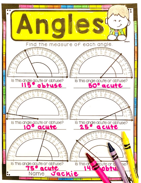Measuring Angles and Identifying Types of Angles for 4th Grade Math and Third Grade Math with free angle activities