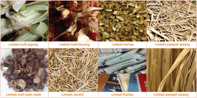 Contoh limbah-limbah organik - kulit jagung, kulit bawang, kulit kacang, kulit buah-biji-bijian, jerami, kertas, dan pelepah pisang