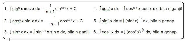 rumus integral fungsi trigonometri bentuk pangkat
