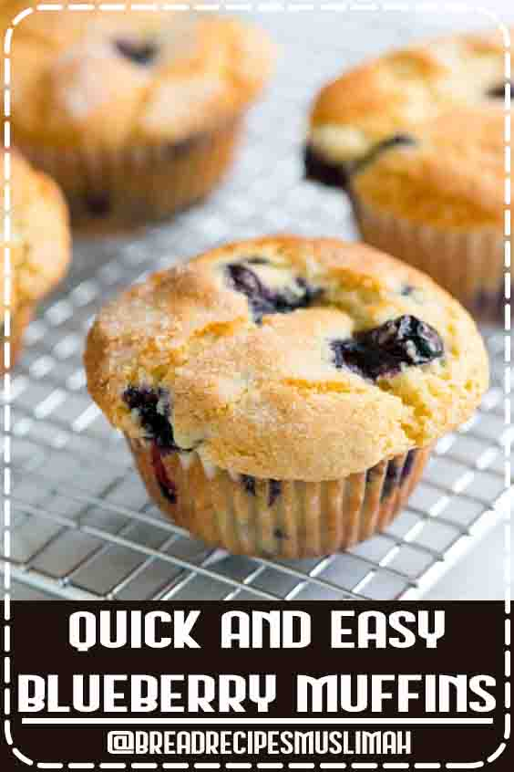 You only need one bowl to make this easy blueberry muffins recipe with blueberries, flour, sugar, vanilla, and vegetable oil. We've been making these muffins for years and are always happy that we did. #Fruit #Bread #Recipes