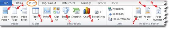 Belajar komputer, Toolbar pada menu insert