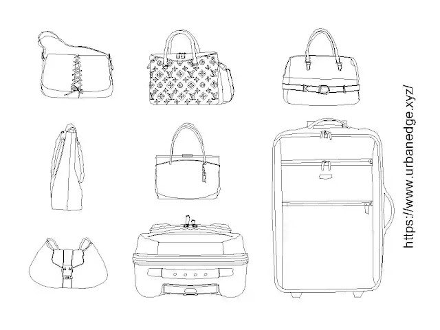 Suitcase and bag cad blocks download, 5+ Bag cad blocks