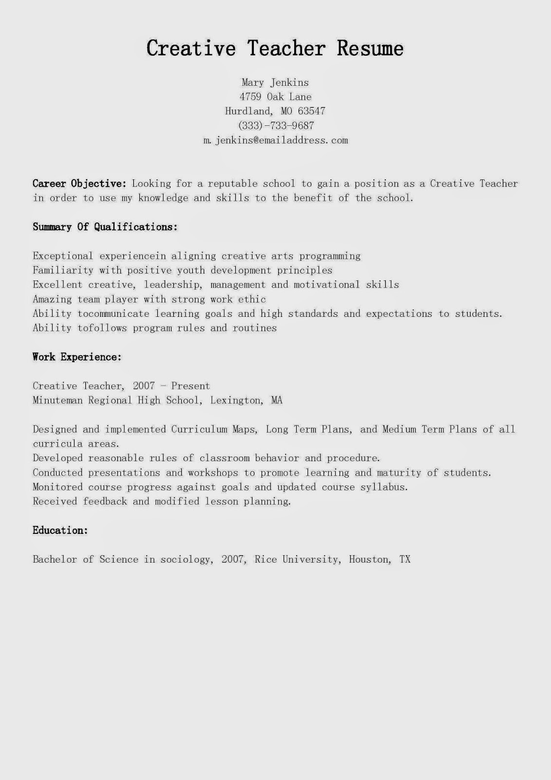 resume samples  creative teacher resume sample