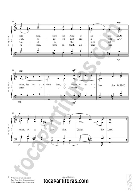 Hoja 2 Partitura JPG gratis de O come, all ye faithful Coro a cuatro voces SATB letra en inglés Choral SATB Sheet Music for 4 voice (soprano, alto, tenor, baritone) Venite Fideles